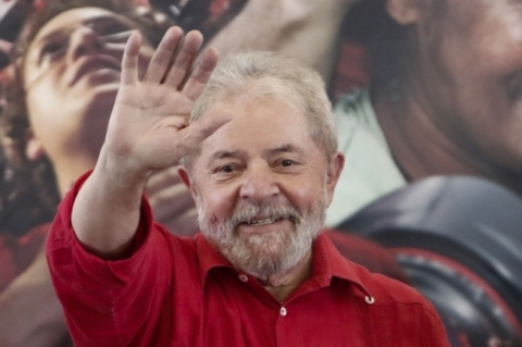 Former Brazilian president (2003-2011) Luiz Inacio Lula Da Silva waves during a rally at the metalworkers union of Diadema, in Sao Paulo, Brazil, July 15, 2017.