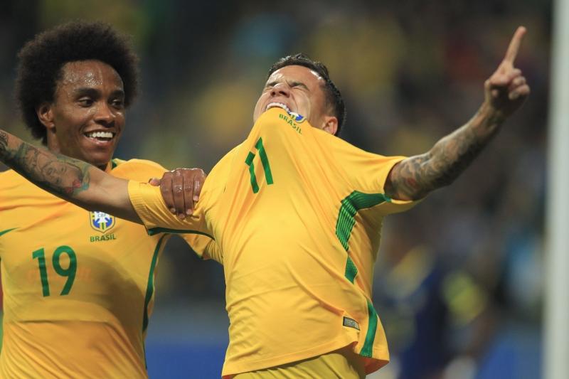 Philippe Coutinho marcou o segundo gol brasileiro na Arena