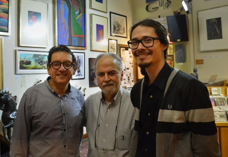 Eduardo Vieira da Cunha, Britto Velho e Yuji Schmidt na exposição O Laçador e os Gaúchos, que segue até 5/11 no Guion Center