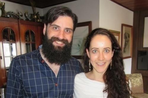 Luiz Fernando Silveira e Wendy Van Der Neut em almoço festivo na residência de Dalva e Luiz Carlos Silveira