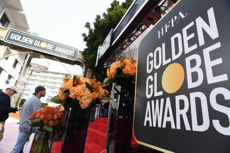 Preparations are underway at the Beverly Hilton Hotel on January 6, 2018 in Beverly Hills, California for the 75th Annual Golden Globe Awards which will take place January 7, 2018.