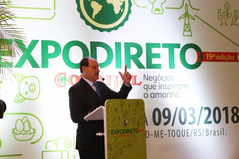 Sartori afirmou que a Expodireto 'superou os limites do Estado, e virou uma festa brasileira'