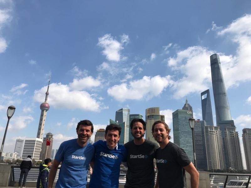 Marcelo Maisonnave, Ricardo Geromel, Pedro Englert e Eduardo Glitz pisam na China
