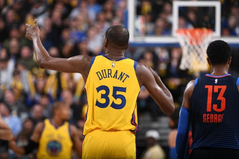 Durant comendou o triunfo de Golden State contra Oklahoma City