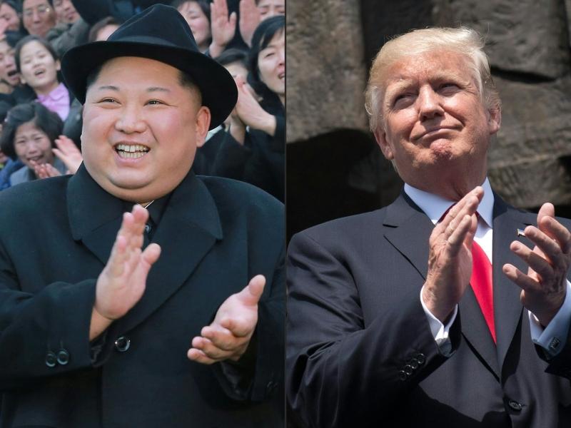 Trump (direita) e Kim Jong-un vão se encontrar em maio para discutir desnuclearização da península coreana