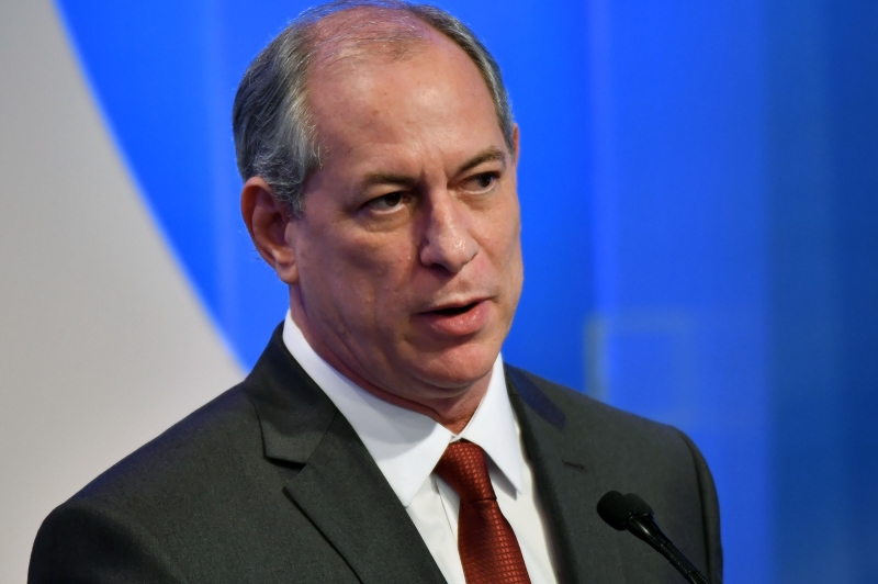Brazilian presidential candidate Ciro Gomes (PDT), speaks during the second presidential debate ahead of the October 7 general election, at Rede TV television network in Sao Paulo, Brazil, on August 17, 2018. - , (Photo by NELSON ALMEIDA / AFP)