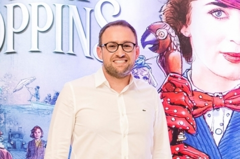 Marcelo Borba, gerente-geral do Praia de Belas Shopping, na pré-estreia do filme O retorno de Mary Poppins, no GNC Cinemas