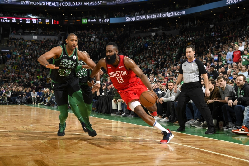 BOSTON, MA - MARCH 3: James Harden #13 of the Houston Rockets handles the ball against the Boston Celtics on March 3, 2019 at the TD Garden in Boston, Massachusetts. NOTE TO USER: User expressly acknowledges and agrees that, by downloading and/or using this photograph, user is consenting to the terms and conditions of the Getty Images License Agreement. Mandatory Copyright Notice: Copyright 2019 NBAE   Brian Babineau/NBAE via Getty Images/AFP       Caption