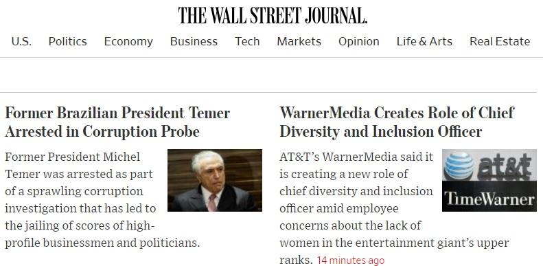 O Wall Street Journal publicou a notícia em seu site