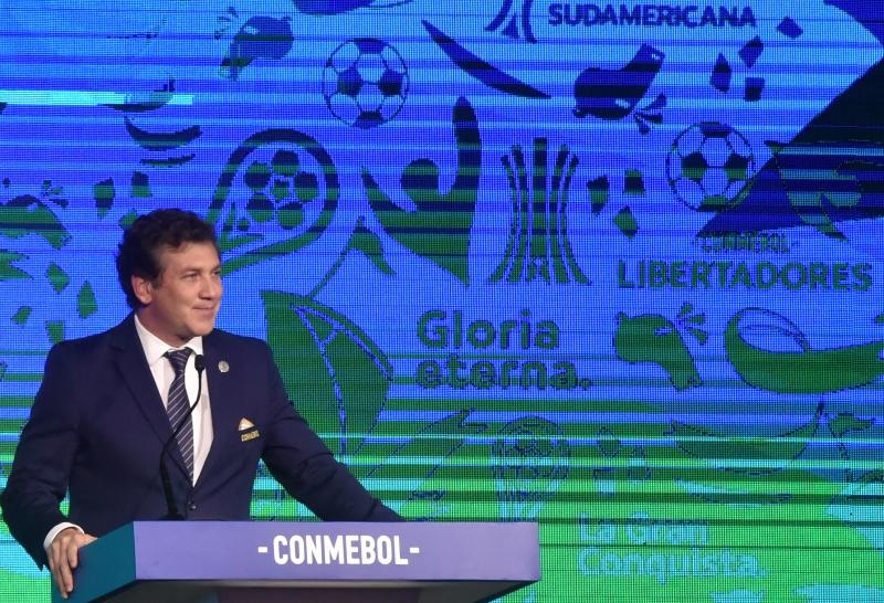 Alejandro Dominguez, presidente da Conmebol, na cerimônia de sorteio da Libertadores