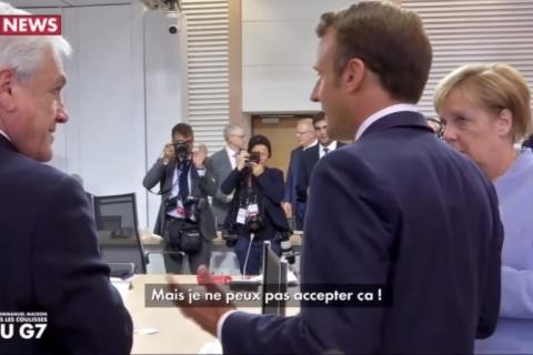 Em vídeo, Macron reclama de Bolsonaro em encontro do G-7