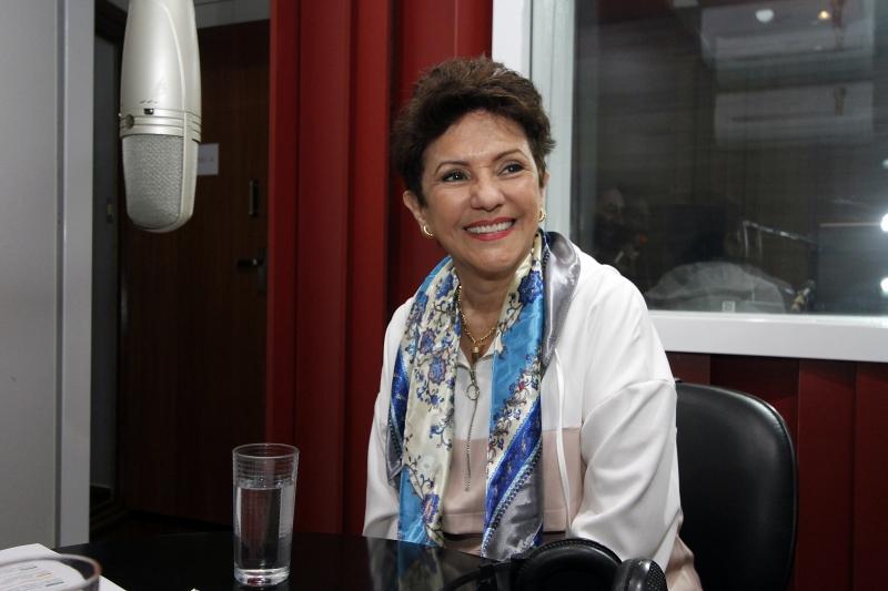 Gravação do podcast do GeraçãoE com Vera Bublitz.  na foto: Vera Bublitz