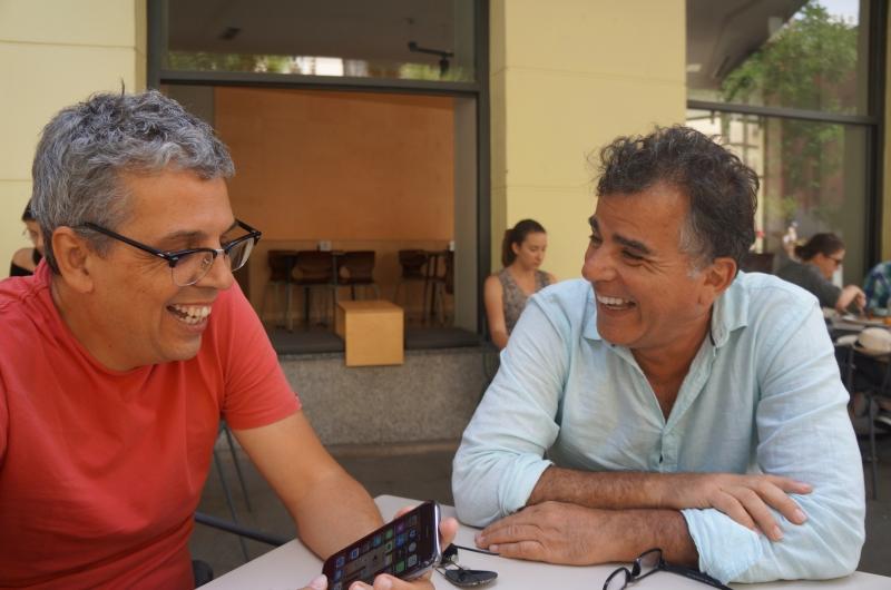 Em Madri, com o amigo e parceiro musical Pedro Guerra