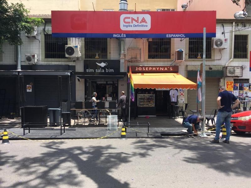 Espaço na rua General João Telles acomodará mesas e será abastecido com energia fotovoltaica