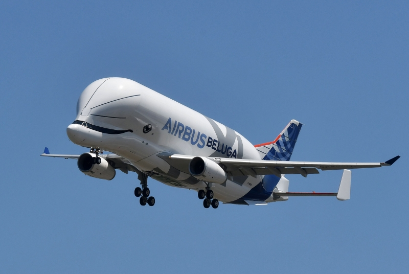 """(pg3 FILES) In this file photo taken on July 19, 2018, an Airbus 'BelugaXL' aircraft comes into land at Toulouse-Blagnac, after its maiden test flight of some four hours. - The first BelugaXL, an oversized cargo aircraft designed to transport aircraft parts between Airbus production sites, has entered into service, the European aircraft manufacturer announced on January 13, 2020. The aircraft, whose hump above the cockpit resembles that of a cetacean, offers a transport capacity 30% higher than that of its predecessor, the BelugaST. It will make it possible to """"support the ongoing ramp-up of production of civil aircraft programmes"""", Airbus explained in a press release. (Photo by ERIC CABANIS / AFP)"""