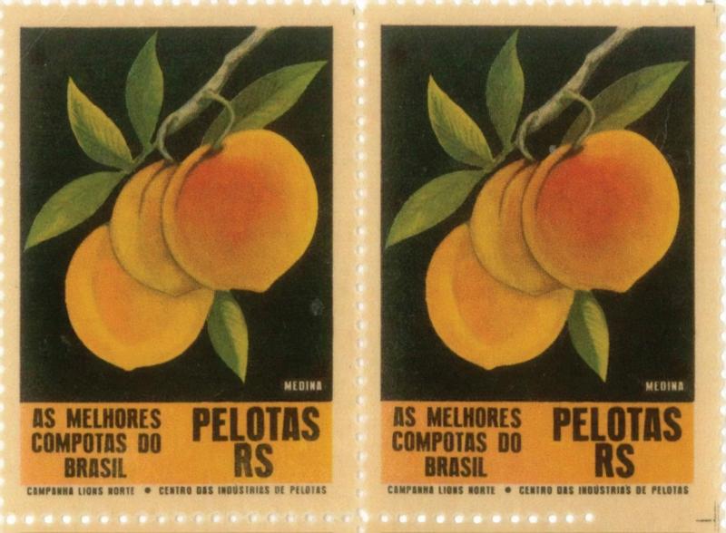 Em 1967, selos comemorativos celebravam a qualidade dos pêssegos em calda de Pelotas