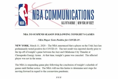 NBA suspende temporada após atleta ser infectado por coronavírus