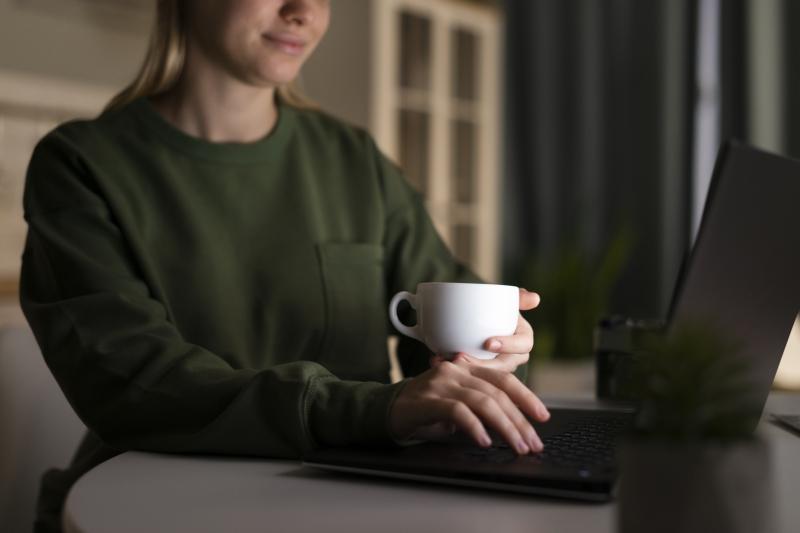 Mulher trabalhando de casa em seu notebook
