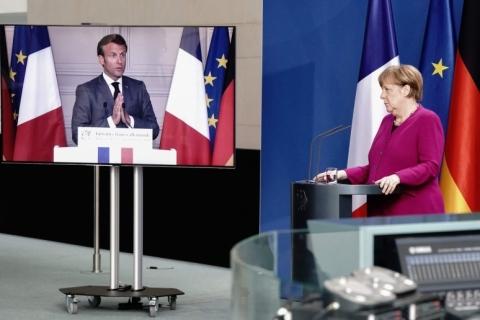 Merkel, Macron e Von der Leyen defendem multilateralismo contra crise da Covid-19