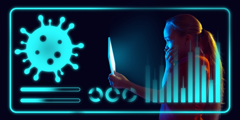 CON - negócios coronavírus - master1305 freepik Girl using interface modern technology and digital layer effect as information of coronavirus pandemic spread. Analyzing situation with world's count of cases, healthcare, medicine and business.