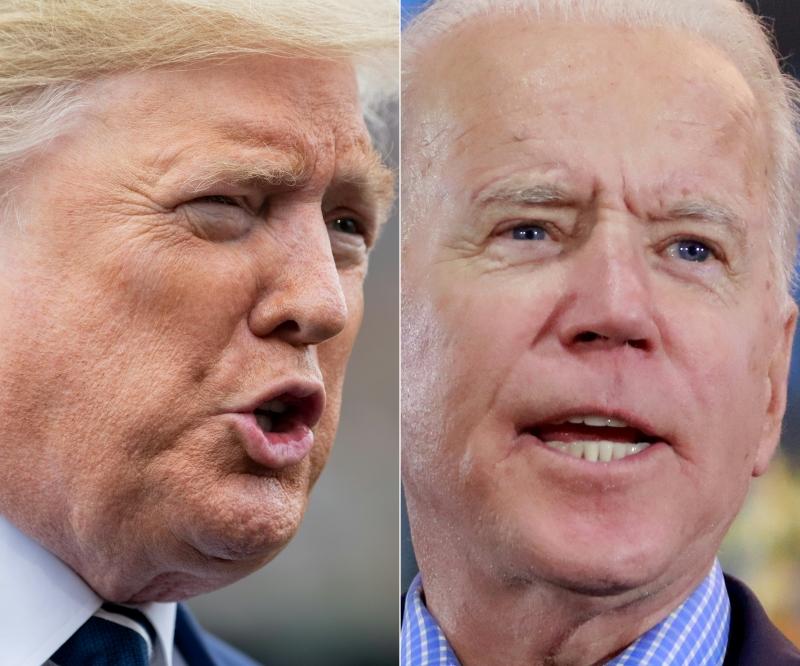 Trump (e) busca reeleição, enquanto Biden (d) quer se tornar presidente mais velho da história os EUA