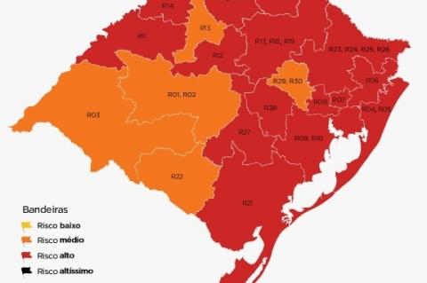 Com piora no cenário, RS tem 15 regiões em bandeira vermelha no mapa preliminar