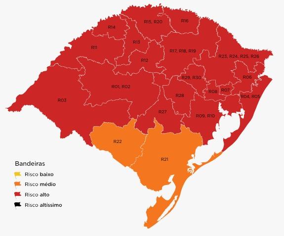 Apenas as regiões de Bagé e Pelotas ficaram com bandeira laranja na 11ª rodada