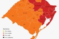 Nova configuração do mapa do RS tem 63,6% da população em bandeira vermelha