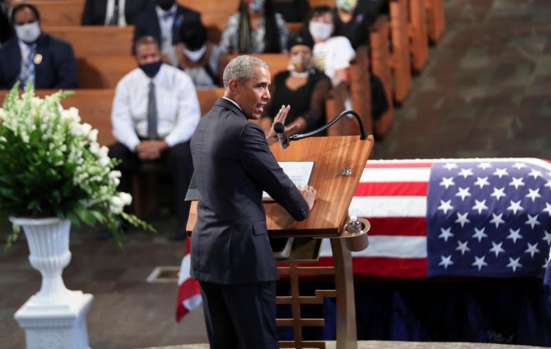 Falando por cerca de 40 minutos, Obama associou o início da vida de Lewis como ativista aos protestos que se seguiram à morte de George Floyd