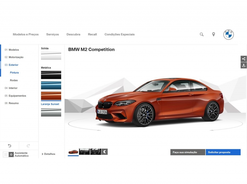 Showroom virtual exibe a gama completa de carros da marca com recursos multimídia