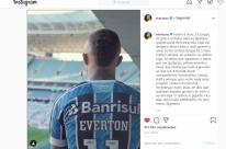 Everton embarca para Portugal e divulga vídeo se despedindo da torcida gremista