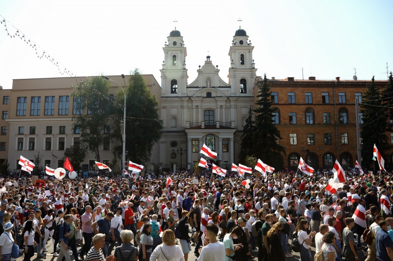Opposition supporters rally to protest against disputed presidential elections results in Minsk on August 30, 2020. (Photo by - / TUT.BY / AFP)