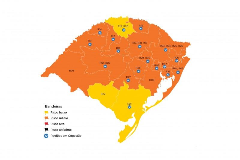 Mapa preliminar apontou três regiões com risco epidemiológico baixo