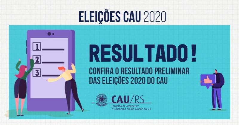 Arte resultado Eleições 2020 Conselho de Arquitetura e Urbanismo CAU