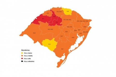 Rio Grande do Sul tem três regiões em bandeira vermelha no mapa da 27ª rodada