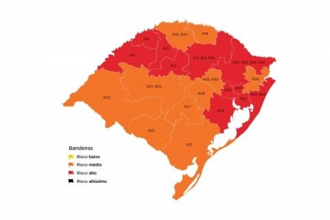 Número de regiões com bandeira vermelha sobe para 11 no Rio Grande do Sul
