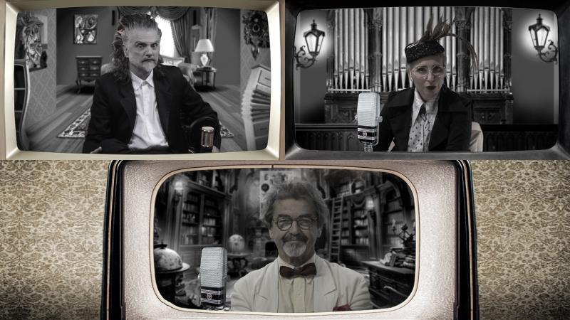 Kraunus Sang (Hique Gomez), Nabiha (Simone Rasslan) e Professor Kanflutz (Claudio Levitan) na série