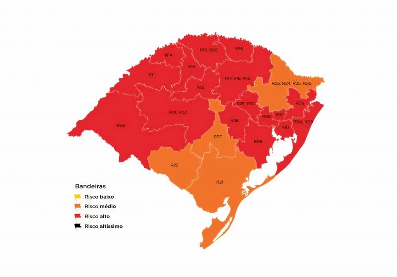 Classificação divulgada na sexta-feira traz 17 regiões em vermelho e quatro em laranja