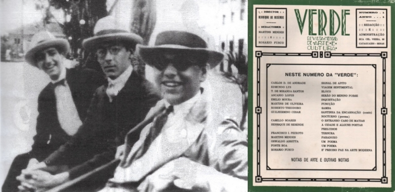 Com Ascanio Lopes e Francisco Ignácio Peixoto, amigos da revista Verde, de Cataguases (MG)