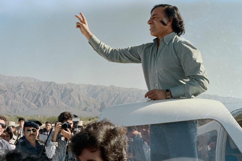 (FILES) In this file photo taken on May 14, 1989 Opposition presidential candidate Carlos Menem of the Peronist Justicialist