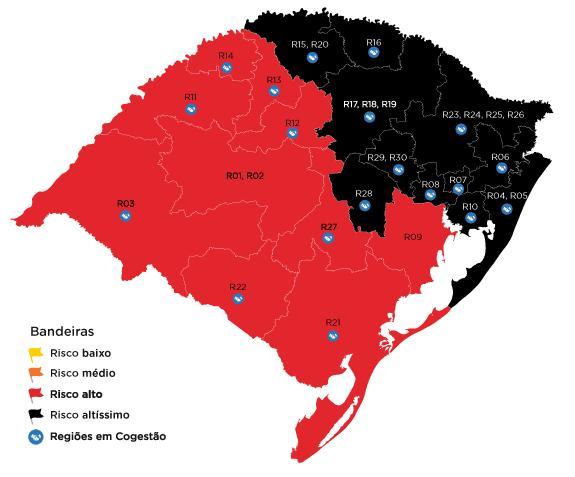Configuração preliminar aparece com 11 regiões em bandeira preta e 10 em bandeira vermelha
