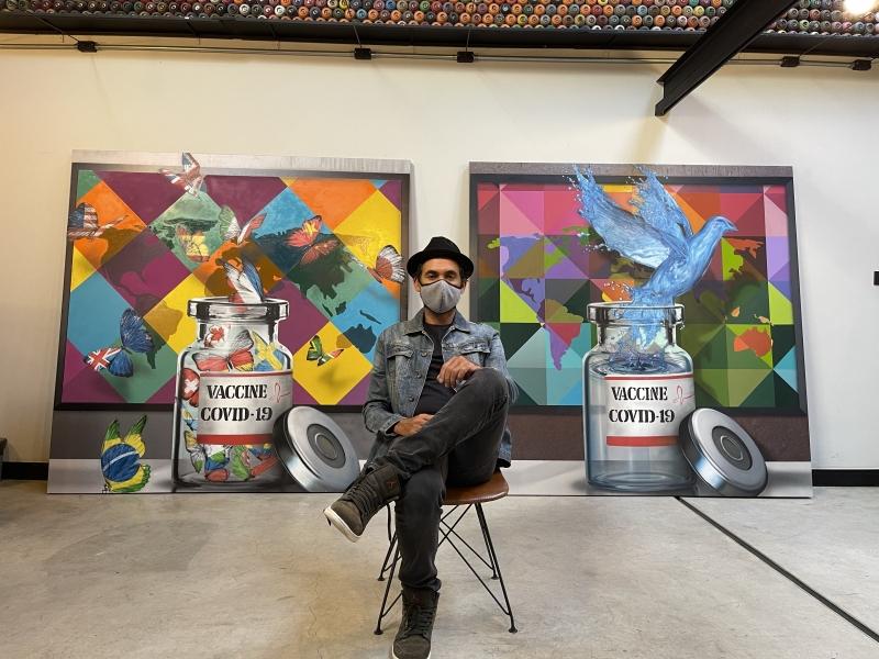 Artista produziu duas obras no início de 2020 para retratar esperança que imunizante traz em meio à pandemia