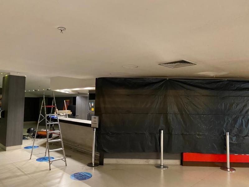 Obras na área da bomboniere do GNC Cinemas, após curto-circuito, deverão levar mais uma semana