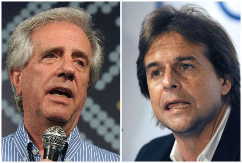 Lacalle Pou (d) foi derrotado por Tabaré Vázquez no último pleito