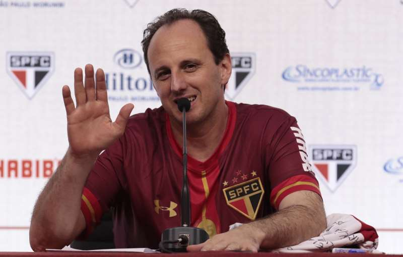 Goalkeeper Rogerio Ceni gestures during a press conference before a friendly match between