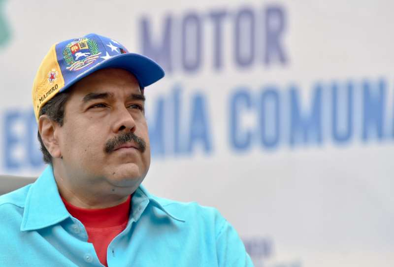 Venezuelan President Nicolas Maduro during a rally in Caracas on May 14, 2016. 