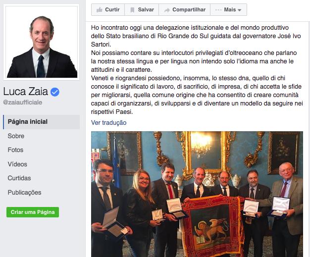 Presidente do Vêneto faz post sobre encontro com a comitiva gaúcha em Veneza