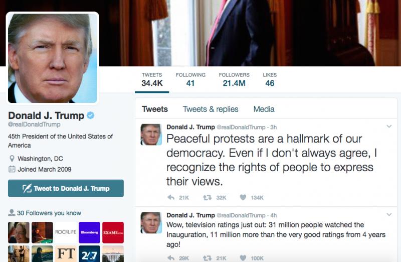 Em seu perfil no Twitter, Trump enviou mensagem sarcástica sobre protestos, depois amenizou