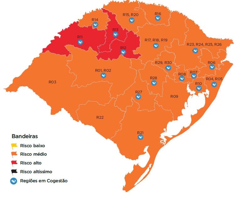 Mapa preliminar  tem três regiões com bandeira vermelha e predominância de laranja