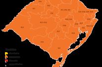 Mapa definitivo volta a ter todas as regiões do RS em bandeira laranja